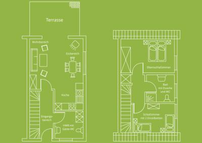Grundriss vom Erd- und Obergeschoss